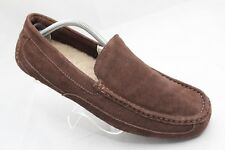 UGG Mens Size 12 Brown Suede Moc Toe Shearling Foot Bed Comfort Slippers 1003419