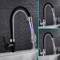 LED robinet de cuisine Pull out Spray bassin mélangeur évier robinet chrome noir