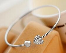 100 x Silver Heart Diamante Bangles Wholesale Joblot Car Boot Jewellery U.K.