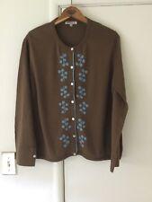 Women's EUC Size L Brown/Blue Cotton/Silk Cardigan w/ Embroidered Detail