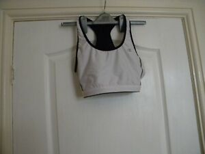 LADIES CHAMPION WHITE AND BLACK POLYESTER/NYLON CROPPED GYM TOP SIZE L