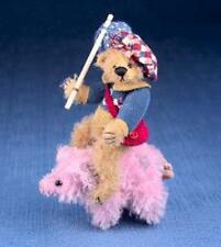 """Deb Canham'S """"To Market To Market"""" Miniature Mohair Bear-3 3/4"""" With Pink Pig"""