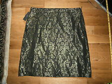 Worthington Women's Size 18 Black Gold Jacquard Lined Dress Party Pencil Skirt