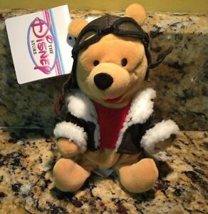 Pilot Aviator Winnie the Pooh Mini Bean Bag Plush Disney Store Plush Bear NEW