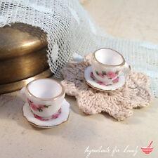 2 pcs - Mini Porcelain Teacup Charm Pendant - Alice in Wonderland Vintage Style