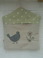 Peg Bag with Chicken and flower free motion Embroidery. Clothes pin bag.