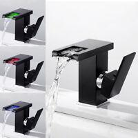 LED RGB évier Mélangeur robinet cascade bassin laiton température Salle de bain