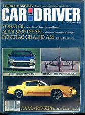 Car and Driver Magazine April 1980 Camaro Z28 Volvo GL Audi 5000 EX 122815jhe