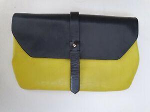 ELK Wallet Real Leather Purse Clutch Bag Lime Black Pouch