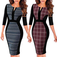 Elegant Women 3/4 Sleeve Work Business Office Dress Formal Bodycon Sheath Dress