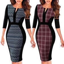 Elegant Women 3/4 Sleeve Work Business Office Dress Formal Bodycon Sheath Dress