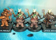 Star Wars Miniatures Lot  Ewok Warrior Ewok Scout Wicket !!  s97