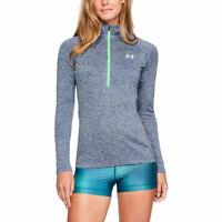Under Armour Womens Tech Twist 1/2 Zip Top Grey Sports Gym Half Breathable