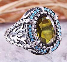 925 Sterling Silver Turkish Handmade Peridot Stone Ottoman Mens Luxury Ring