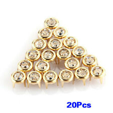 20x 7mm Metal Strass Rivets Or Blanc Goujons ronds Clous pour chaussures B1S9
