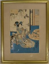 "Utagawa Toyokuni Japanese Woodblock framed Print, 19th c. 14"" x 9"""