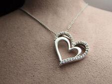 "Sterling Silver 32 Real Diamond Double Heart Pendant Necklace 18"" Lot 2076"