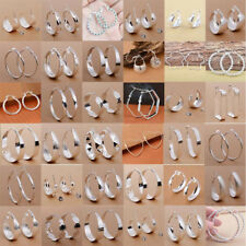 Women 925 Silver Big Circle Hoop Dangle Ear Stud Earrings Party Wedding Jewelry