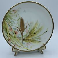 Florentia Italy Hand Painted Vintage Floral Wheat Gold Trim Porcelain Plate
