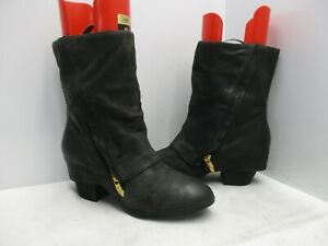 FERGIE Cameo Black Leather Fold Over Mid Calf Boots Womens Size 8 M