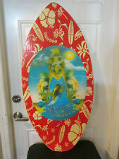 2005 Nash Hydroslide Wooden Skim Board White Red Hibiscus Waves Ocean Surf Rare