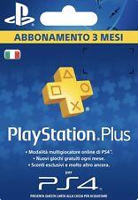 Abbonamento PLAYSTATION PLUS 3 Mesi - 90 GIORNI PSN PS4 LEGGERE DESCRIZIONE