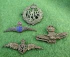 4 ASSORTED BASE METAL R.A.F BADGES - UNIFORM & SWEETHEART - ALL PERIOD EXAMPLES