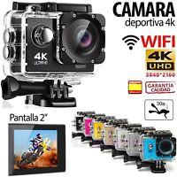 "Camara WIFI 4K ULTRA HD deportiva tipo GoPro 2"" sumergible acuática + accesorios"
