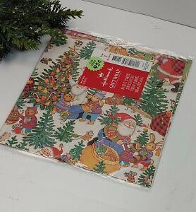 VTG Hallmark Christmas Gift Wrapping Paper Santa Woodland Animals Racoon Mice