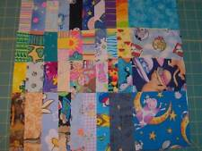 """40 - 4 1/2"""" cotton fabric squares, brights and kids as seen in the pic SQ1613"""