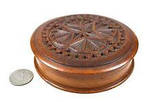 Antique Frisian Chip Carved Round Snuff Box, Dutch.