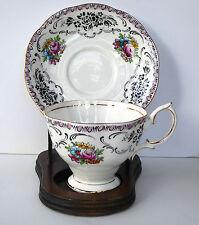 Royal Albert Damask Tea Cup Saucer Black Pink Floral Footed Gold England Vtg