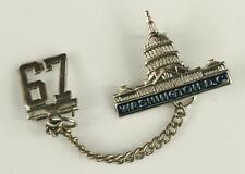 Vintage Travel Souvenir Jewelry Lapel Pin Washington DC 1967 Silver Tone