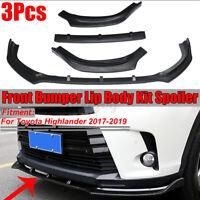 3x Front Bumper Lip Body Kit Spoiler Splitter For Toyota Highlander 2017-2019