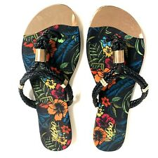 Black Gold tone Floral Hibiscus Flip Flop Sandal Beach Womens 6  Leather Thong