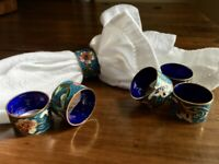 Vintage set of 6 small Cloisonne napkin rings, enameled brass, blue, floral