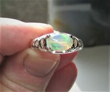 Men's Opal Ring In Sterling Silver-Genuine Natural Solid Welo Opal Ring Sz 10.75