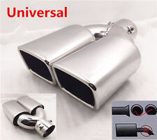 2.5in Car Exhaust Muffler Tip Dual Square Outlet Auto Silencer Tail Pipe Chrome