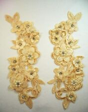 "Venice Lace Applique Gold Floral w/ Crystal Rhinestones and Pearls 8"" (DH101)"