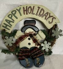 "13"" Grapevine Wreath With Wooden Snowman and Happy Holidays Sign Tin Snowflake"