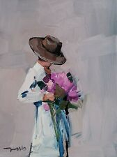 JOSE TRUJILLO Oil Painting IMPRESSIONISM WOMAN HOLDING FLOWERS COLLECTIBLE ART