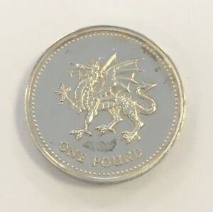 1995 Welsh Dragon Sterling Silver £1 Proof Coin .925 Toned