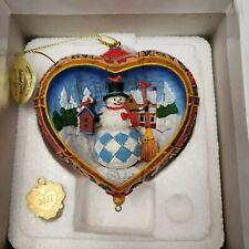 JIM SHORE The Danbury Mint Ornament Heart Holly Jolly Snowman Village 3D 2011