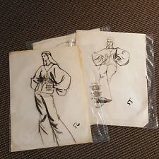 Lot of 3 Young Woman Fashion Model Sketches Romance Novel Elaine Gignilliat