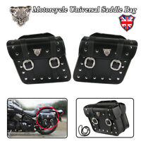 Pair Leather Side Saddle Bags for Yamaha Virago XV 250 500 535 700 750 920 1100