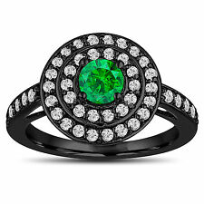 Enhanced Green Diamond Engagement Ring 14K Black Gold Vintage Style Double Halo