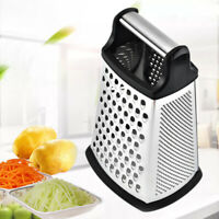 Cheese Grater Vegetable Slicer Stainless Steel 4-Sides 9 Inch Height Rubber-AU