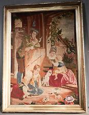 Antique Needlepoint Tapestry Lemon Gold Frame Cat Kitten Children Victorian Art