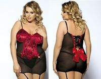 Plus Size Babydoll LINGERIE with Suspenders 12 14 16 18 20 22 24 Sexy4Play A27