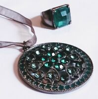 Vintage Green Paste Gem Ring, O, and Pendant Necklace Graphite Grey Setting #496